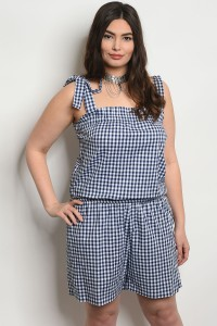 C20-A-5-JCJ5691X NAVY WHITE CHECKERED PLUS SIZE JUMPSUIT 2-2-2