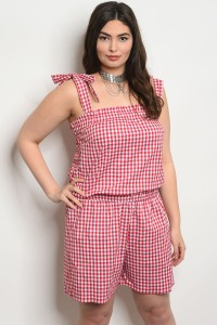 C16-A-5-JCJ5691X RED WHITE CHECKERED PLUS SIZE JUMPSUIT 2-2-2