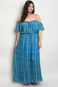 S3-8-4-D3579X BLUE CORAL PLUS SIZE DRESS 1-2-1
