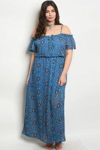 114-5-2-D3578X BLUE RUST PLUS SIZE DRESS 1-2-1