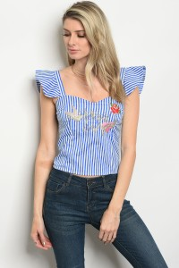 128-2-2-T07227 BLUE STRIPES TOP 2-2-2