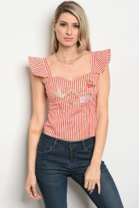 128-1-2-T07227 RED STRIPES TOP 2-2-2