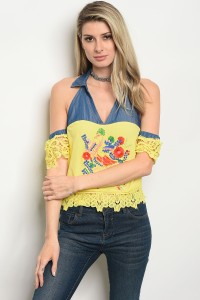 S3-9-5-T05213 YELLOW WITH FLOWER PRINT TOP 2-2-2
