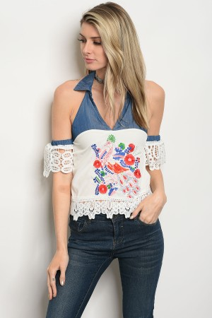 S3-9-5-T05213 WHITE WITH FLOWER PRINT TOP 2-2-2