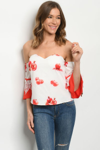 S3-8-5-T20331 WHITE POMEGRANATE PRINT TOP 2-2-2