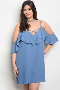 S5-3-5-GD3543X BLUE PLUS SIZE DRESS 2-2-2