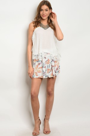 S7-1-4-S12657 IVORY FLORAL SHORTS 3-2-1