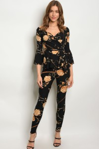 C31-A-2-SET4189 BLACK WITH ROSES PRINT TOP & PANTS SET 2-2-2