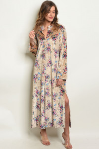 S8-11-1-D7285 TAUPE FLORAL VELVET DRESS 3-2-1