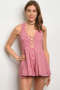 S11-3-3-R8342 RED WHITE CHECKERED ROMPER 3-2-1