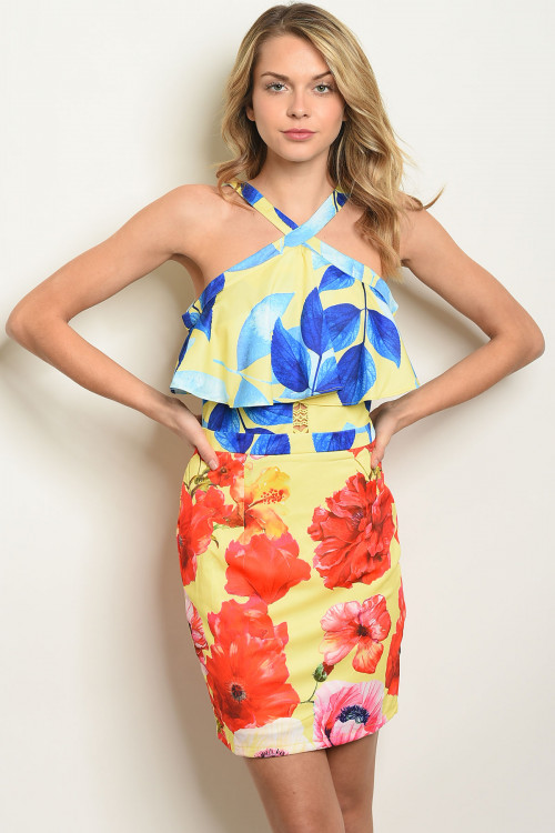 104-4-4-D05807 YELLOW FLORAL DRESS 2-1