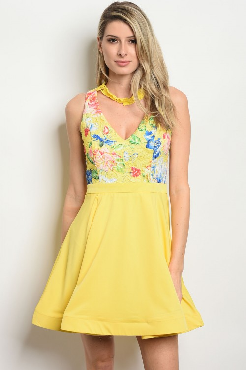 112-5-2-D06728 YELLOW WITH FLOWER PRINT DRESS 2-2-2
