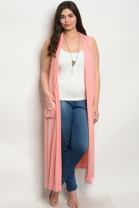 C6-A-5-C8021X PEACH PLUS SIZE CARDIGAN 2-2-2