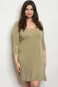C13-A-3-D3146X OLIVE PLUS SIZE DRESS 2-2-2