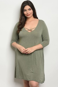 C17-A-5-D3146X GREEN PLUS SIZE DRESS 2-2-2