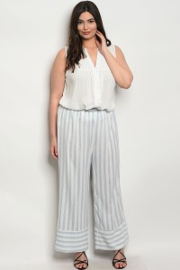 C18-A-5-P6002X OFF WHITE BLUE STRIPES PLUS SIZE PANTS 2-2-2