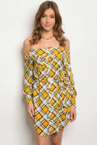 S2-7-1-D9241 MUSTARD NAVY PLAID DRESS 2-2-2