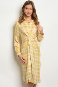 S2-7-1-D9325 YELLOW WHITE CHECKERS DRESS 2-2-2