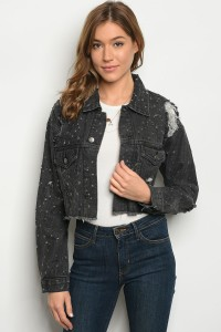 S5-3-5-J75128 BLACK DENIM JACKET 3-2-1