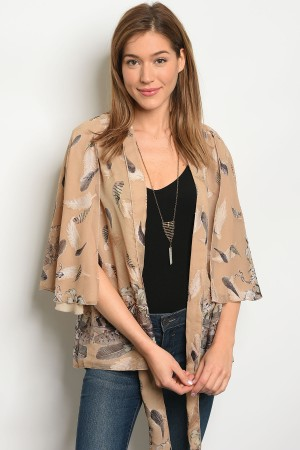 C66-A-3-C71716 TAUPE FEATHER PRINT CARDIGAN 2-2-2