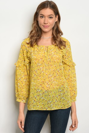 S10-6-4-T81033 YELLOW RED FLORAL TOP 2-2-2