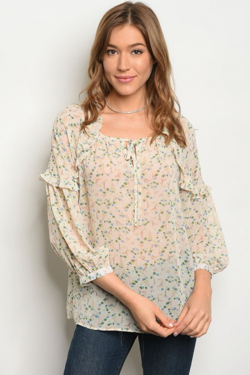 S11-2-4-T81033 CREAM OLIVE FLORAL TOP 2-2-2