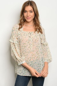 S11-12-3-T81033 CREAM OLIVE FLORAL TOP 2-1-2