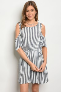 C62-A-3-R90085 NAVY WHITE STRIPES CHAMBRAY ROMPER 2-2-2