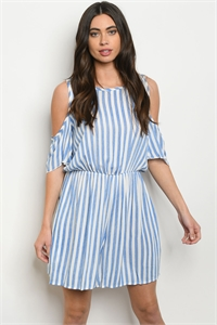 C62-A-4-R90085 BLUE WHITE STRIPES CHAMBRAY ROMPER 2-2-2