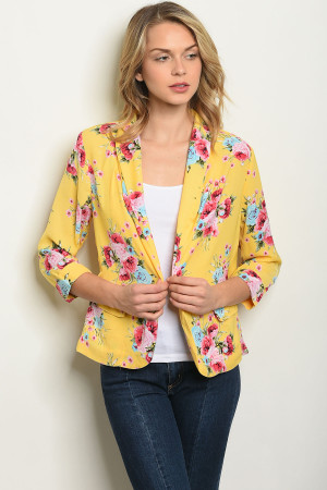 S12-2-4-JA59141 YELLOW FUCHSIA FLORAL JACKET 2-2-2