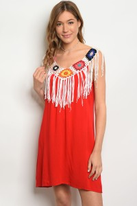 SA3-7-5-DR38634 RED WHITE MULTICOLOR DRESS 2-2-2