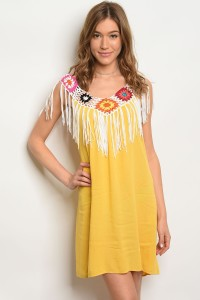 SA3-7-5-DR38634 YELLOW WHITE MULTICOLOR DRESS 2-2-2