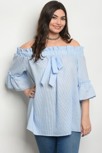 C73-A-4-T30867X BLUE WHITE STRIPES PLUS SIZE TOP 2-2-2
