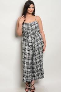 C67-A-6-J90106X BLACK WHITE CKECKERS PLUS SIZE JUMPSUIT 2-2-2