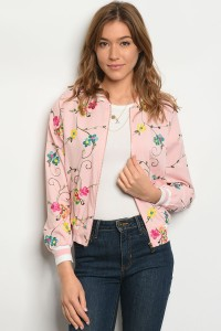 SA3-7-4-JA51425 LIGHT PINK FLORAL BOMBER JACKET 1-2-2-1