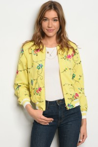 SA3-7-4-JA51425 YELLOW FLORAL BOMBER JACKET 1-2-2-1