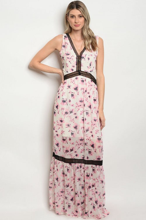 107-4-3-DID71814 IVORY PINK FLORAL MAXI DRESS 3-2-3