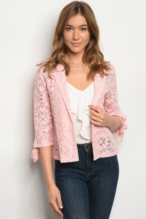 SA3-7-2-JA46400 LIGHT PINK CROCHER JACKET 1-2-2-1