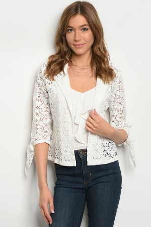 SA3-7-2-JA46400 WHITE CROCHET JACKET 1-2-2-1