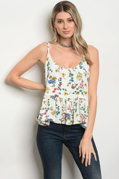 108-1-3-T25446 OFF WHITE GREEN FLORAL TOP 2-1-3