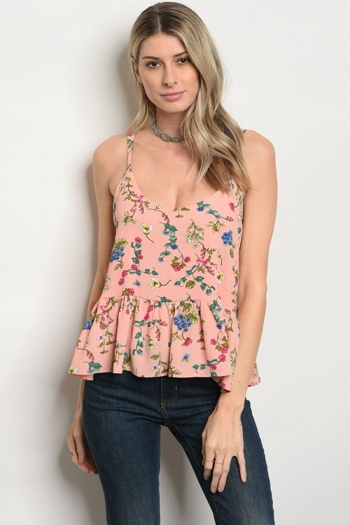 108-1-3-T25446 PEACH GREEN FLORAL TOP 3-2-2