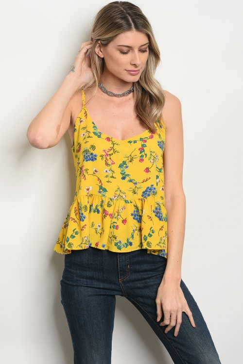 108-1-3-T25446 MUSTARD GREEN FLORAL TOP 4-1-3