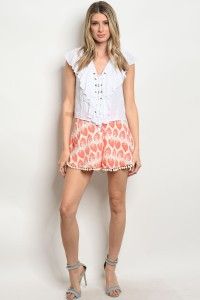 126-1-1-S752602 CORAL IVORY SHORTS 1-2-2-1
