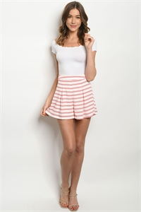 SA-3-6-3-S752402 WHITE CORAL STRIPES SHORTS 1-2-2-1