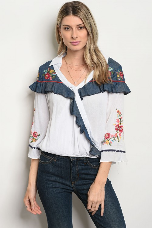 S16-4-4-T322 OFF WHITE BLUE DENIM TOP 3-3