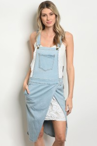 S13-6-4-OS1556 LIGHT BLUE DENIM OVERALL SKIRT 2-2-2