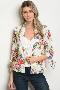 S10-7-3-JA46407 WHITE GREEN FLORAL JACKET 2-2-2