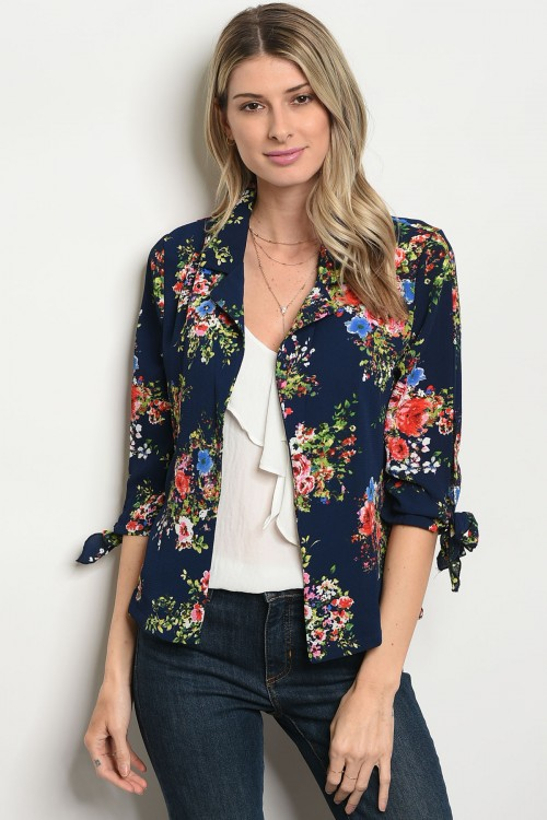 105-1-2-JA46407 NAVY GREEN FLORAL JACKET 2-2-3