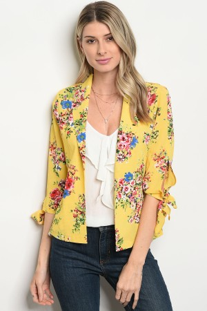 S3-7-2-JA46407 YELLOW GREEN FLORAL JACKET 2-2-2