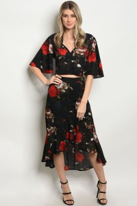 239-2-2-SET1017 BLACK FLORAL TOP & SKIRT SET 2-2-2